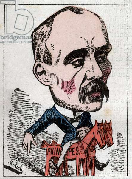 """Portrait of Georges Clemenceau (1841-1929) politician in """"Le Trombinoscope"""""""" by Touchatout, caricature by B. Moloch of 1882 (1849-1909). Private collection."""