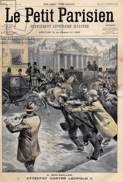 """1902: Leopold II King of the Belgians (1865-1909) escapes an attack by an Italian anarchist. Cover of the """"Petit Parisien"""""""