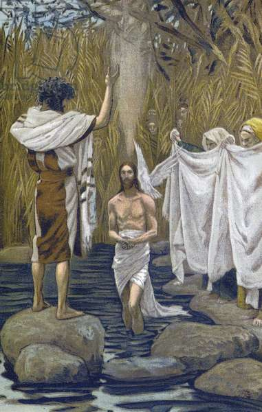 """The Bapteme of Jesus - The Baptim of Jesus - from """""""" The Life of Our Lord Jesus Christ"""""""" - 1899 by James Tissot - The Life of Our Lord Jesus Christ, by Jacques Joseph (Jacques Joseph) Tissot dit James Tissot (1836-1902)"""