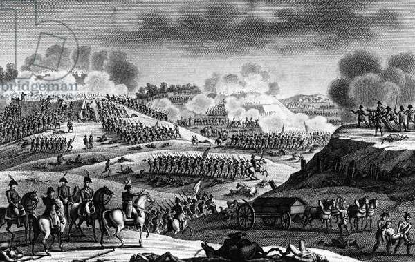 Battle of Wattignies, 15-16 October 1793, the French army, under the command of Jourdan and Carnot, won a victory over the Austrians and Hanovrians of General Cobourg. Engraving by Couché son.