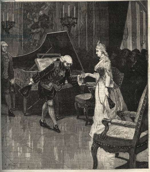 """Christoph Willibald Gluck before the queen Marie-Antoinette at Trianon - Christoph Willibald Gluck (1714-1787), German composer playing in front of Queen Marie Antoinette a Trianon - engraving in """""""" Popular Music"""""""""""" illustrated weekly newspaper - 1882"""