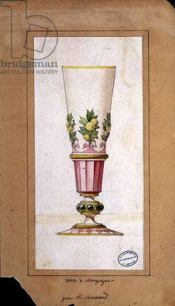 Decoration for champagne flutes, watercolour drawing, Claude-Aymé Chenavard, 1836
