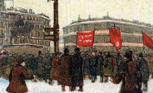 Russian revolution in 1917. Chromolithography around 1925.