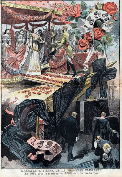 The arrival in Vienna of Elisabeth de Wittelsbach (1837-1898) (sissi), Imperial of Austria (1854-1898) for marriage and in 1898 for funeral - illustration in le-Pelerin of 1898