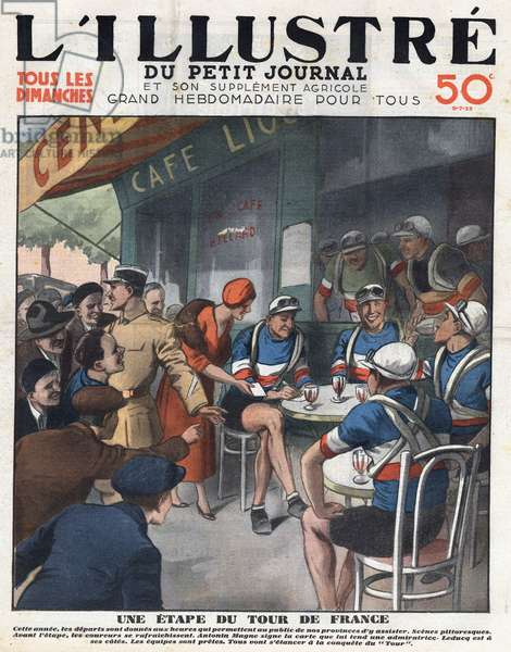"A stage in the Tour de France: Before the start, the riders were refreshed and Antonin Magne (1904-1983) signed a map that was given to her by an elegant admirer. Cyclist Andre Leducq (1904-1980) is at his side. Front page engraving of """" L'illustrious du petit journal"""", 1933. Private collection."
