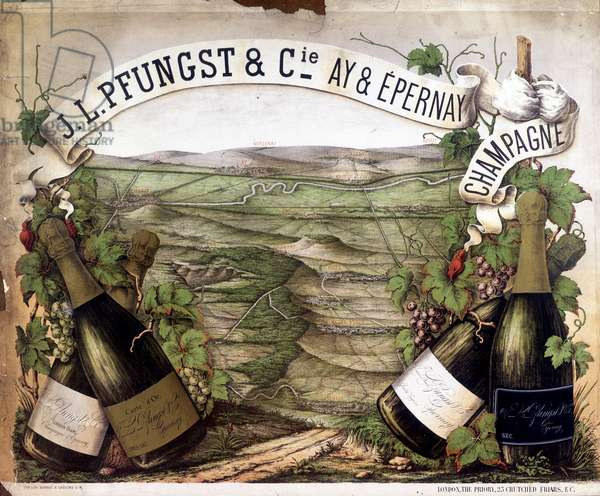 Advertising poster for champagne Pfungst, 20th century