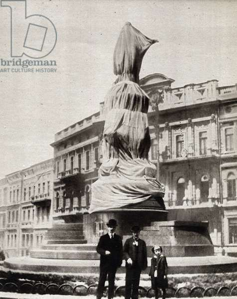 "Russian Revolution of 1917: ""The statue of the Impress Catherine II draped in Odessa by the Revolutionaries"""" In ""The Mirror"""" 1917"