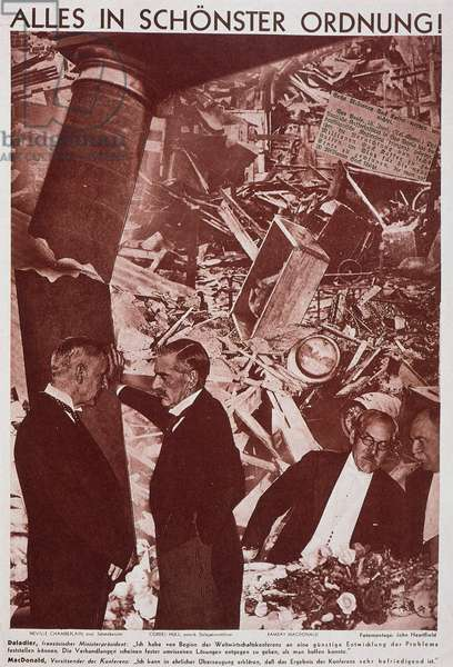"""Reproduction of the photomontage by Helmut Herzfeld, known as John Heartfield (1891-1968), published in """""""" AIZ"""" (Arbeiter Illustrierte Zeitung, German workers' newspaper denouncing Nazism): """"The pillars of society, everything goes for the better"""", representing the leaders Edouard Daladier (France), Ramsay MacDonald (Great Britain States) and Cordell Hull (in June 1933 at the Mondilae Economic Conference. Private Collection"""