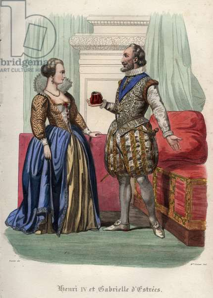"King Henry IV (Henry IV) of France (1553-1610) and his mistress Gabrielle d'Estrees (1573-1599). Engraving from 1842 in ""Histoire des popes"""" by Maurice Lachatre. Private collection."