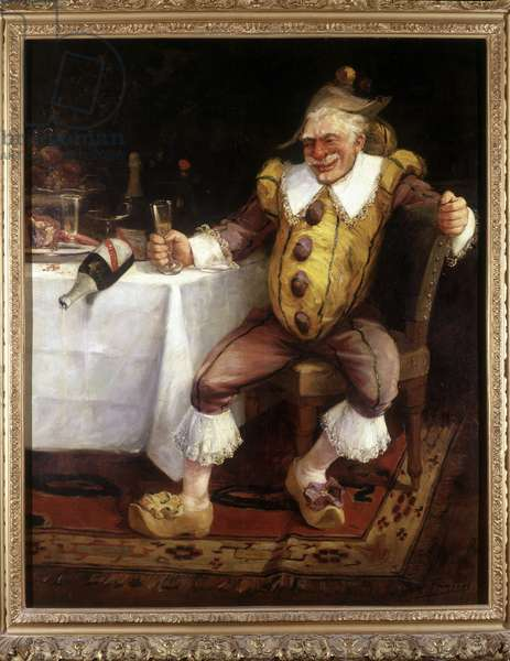 The Drunk of the Police, 1884. Painting by Joseph Faverot (1862-?). Polichinelle drinking champagne. Mumm Collection in Reims (champagne).
