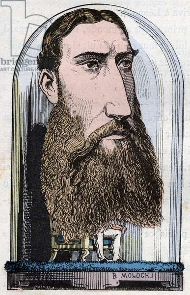 """Portrait of Leopold II, King of the Belgians (Louis Philippe Marie Victor), Prince of Belgium, Duke of Saxony, Prince of Saxony-Coburg-Gotha, Duke of Brabant, (1835 - 1909) in """""""" Le Trombinoscope"""""""" by Touchatout, caricature of B. Moloch of 1882 (1849-1909). Private collection."""