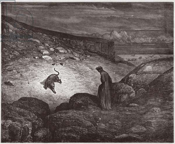 The Divine Comedy (La Divina Commedia, La Divine Comedie), Inferno, Canto 1: The panther at the beginning of the ascent - by Dante Alighieri (1265-1321) - Illustration by Gustave Dore (1832-1883), 1885