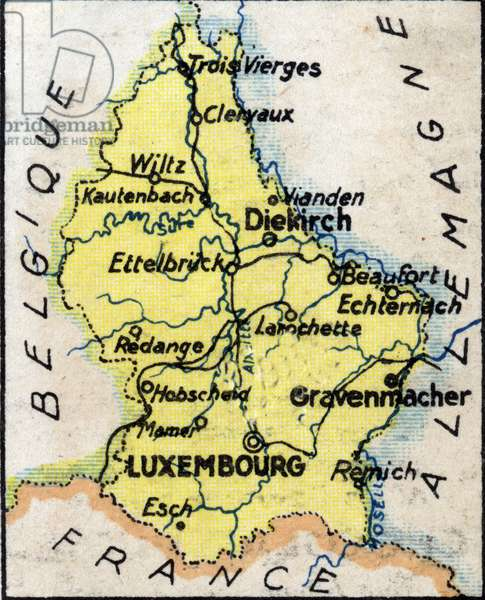 Geographic map of the Grand Duche of Luxembourg with the names of the main cities and the border countries. Chromolithography of 1936.