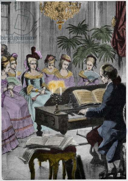 Christoph Willibald Gluck before the queen Marie-Antoinette at Trianon - Christoph Willibald Gluck (1714-1787), German composer playing in front of Queen Marie Antoinette at Trianon