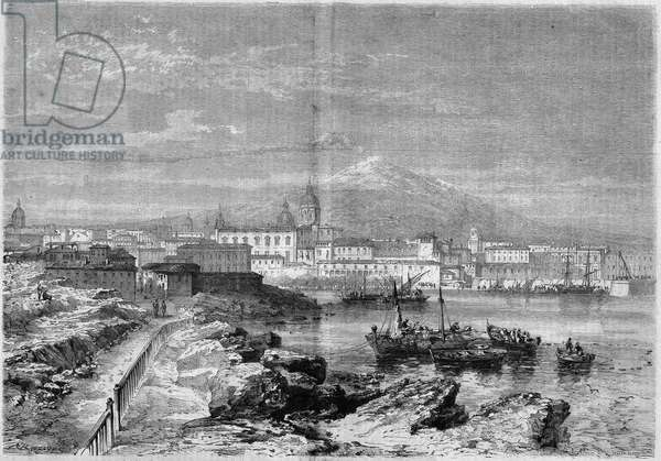 "View of the city of Catania (Catania) at the foot of the volcano Etna. Sicily, Italy, 1860. Engraving in """" Le Monde Illustrous"""" n°168 of June 30, 1860."