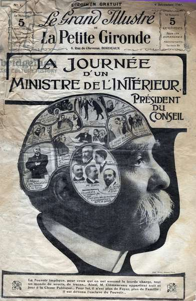 """The day of a minister of the interior, president of the council Georges Clemenceau (1841-1929) - cover of """"The great illustrious of the little Gironde"""""""" of 9 December 1906"""
