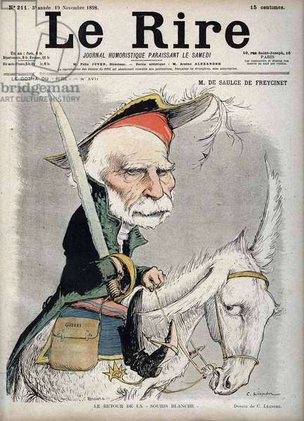 """Portrait of Charles de Freycinet (Louis Charles de Saulces de Freycinet) (1828-1923), French politician and engineer - - caricature by Charles Leandre (1862-1934) in """""""" Le Rire"""""""" of 19 November 1898"""