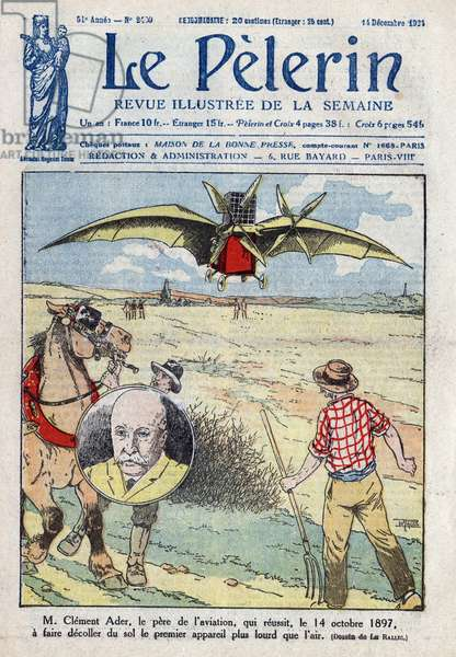 """Depart from the Aquilon (Plane III) on October 14, 1897, first prototype aircraft made by Clement Ader (1841-1925) French aeronautical engineer. Cover of """""""" Le-Pelerin"""""""" from 1924."""