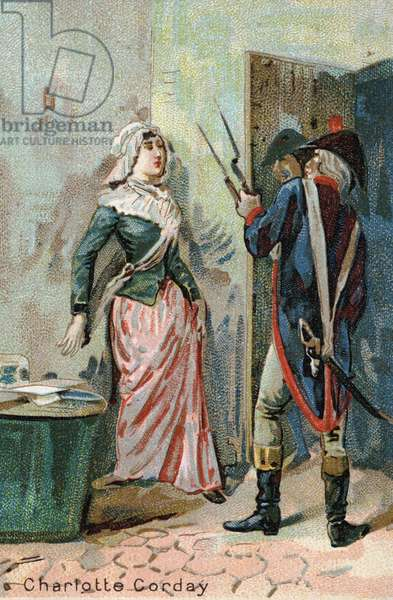 Charlotte Corday (1768 - 1793) after the murder of Marat. Liebig chromolithography of the 19th century
