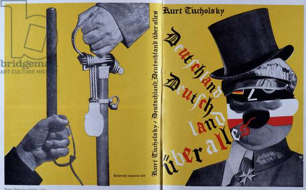 """Cover of the book """""""" Deutschland, deutschland uber Alles"""""""" by German journalist and writer Kurt Tucholsky (1890-1935). Reproduction of the photomontage of Helmut Herzfeld known as John Heartfield (1891-1968) published on the cover of the book, 1929. Private Collection"""