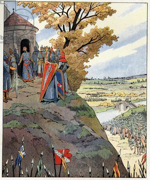 """My crown to the brave words of King Philip II said Philip Augustus (1165-1223) to the lords before the victory of the Battle of Bouvines on July 27, 1214. Illustration of Job (Jacques Marie Gaston Onfray and Breville) (Jacques-Marie) (1858-1931) for the book """"Les grands mots historiques du pays de France"""""""" 1915. Privee Collection."""