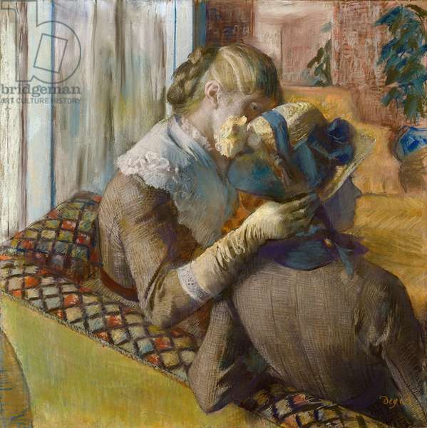 At the fashionist. A client trying a hat, 1881 (pastel)