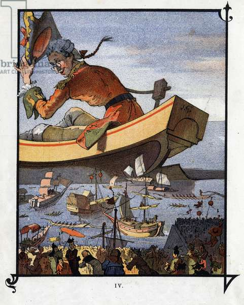 """Lemuel Gulliver said goodbye to the Lilliputians. Illustration for """""""" Gulliver's Voyages """""""" by Jonathan Swift (1667-1745)"""