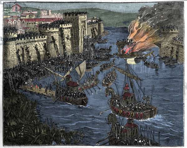 The Normans, led by Rollo, besieged Paris in 885, illustration from 'France and the French through the Century', 1884 (colour litho)