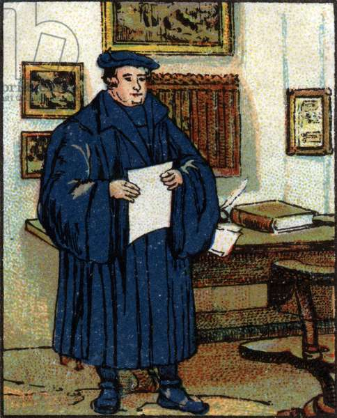 Portrait of Martin Luther (1483-1546), German Protestant reformer. Chromolithography of 1936.
