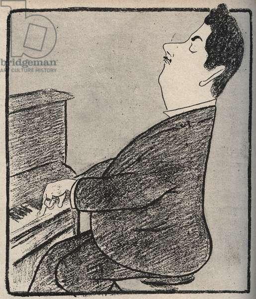 Portrait of Giacomo Puccini (1858-1924), Italian composer. Cartoon by Leonetto Cappiello - 1898