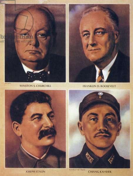 The Allied leaders of World War II - Winston Churchill, Franklin Delano Roosevelt, Joseph Stalin and Chiang Kai Shek - 1943