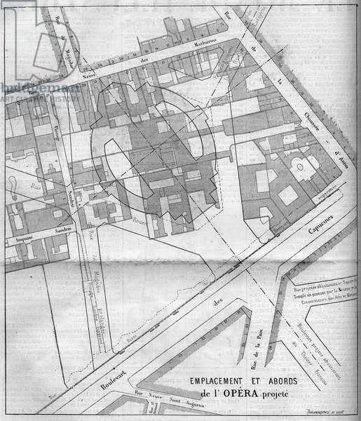 "Transformations of Paris under the Second Empire, Haussmann Paris: projected plan of the Opera Garnier in Paris in 1860. Engraving in """" Le Monde Illustrée"""" n°183 of 13 October 1860."