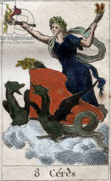 "Representation of Ceres on his chariot, goddess of agriculture, harvest and fecondite (Ceres, goddess of agriculture, fertility, represented on a cart). from ""Mythologie de la jeunesse """" by Pierre Blanchard 1803."