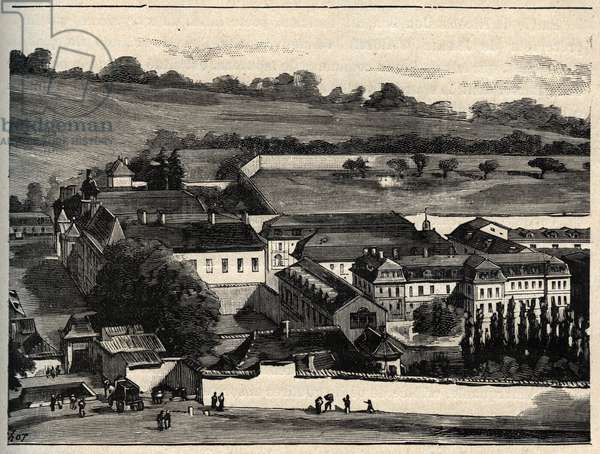 """Central House of Clairvaux (prison of Clairvaux) - Champagne-Ardenne - engraving in """""""" PATRIE"""" - DESCRIPTION PACUREQUIREQUE DE LA FRANCE EN 6 VOLUES BY LUCIEN HUARD - end 19th century"""