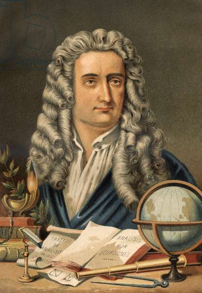 """Portrait of Isaac Newton (1642-1727), English mathematician, physicist and astronomer. from """"La Ciencia y sus Hombres"""" by Louis Figuier. Barcelona 1881"""