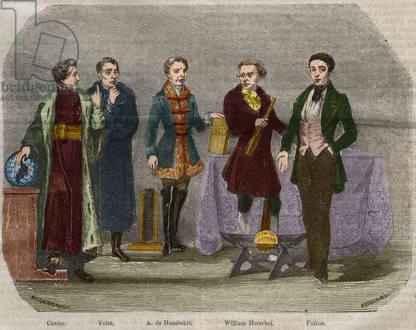 "Portraits of scientists Georges Cuvier (1764-1832), Alessandro (Alexandre) Volta (1745-1827), Alexander Von Humboldt (Alexandre de Humboldt, 1769-1859), Sir William Herschel (1738-1822) and Robert Fulton (1765-1815). Engraving from 1856 in """" Le Musee Des Sciences"""""
