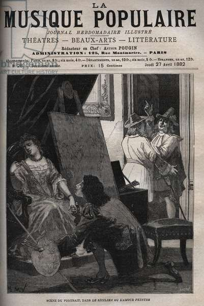 """Scene of the portrait in """""""" e Sicilian ou l'Amour peintre"""""""""""" comedy by Moliere in one act, on a music by Jean-Baptiste Lully (Jean Baptiste (Lully (Giovanni Battista Lulli) (1632-1687) engraving in """""""" La musique populaire"""""""""""" - illustrated weekly newspaper - 1882"""