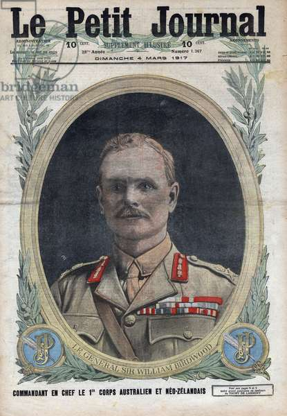 """First World War: portrait of General Sir William Birdwood (1865-1951), commander of the 1st Australian and Neozelander Corps. One of """"Le petit journal"""""""" of March 4, 1917."""