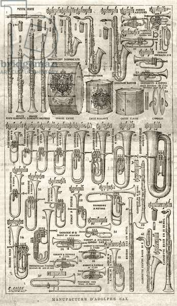"""Manufacture of Adolphe (Adolph) Sax, inventor of the Saxophone (1814-1894). Engraving in """"The Illustrious Universe"""" from 1867."""