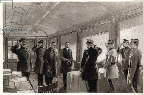 The Signing of the Armistice on 11th November 1918 at 5 a.m., 1918 - First World War - Armistice sign between Germany and allies in Compiegne Forest, Nov. 11, 1918.-1 Marechal Foch, 2 Admiral Wemyss, 3 American Delegate, 4 General Weygand, 5 M. Erzberger, 6 General V. Gundell, 7 General W. Winterfeldt, 8 Count Oberndorff.
