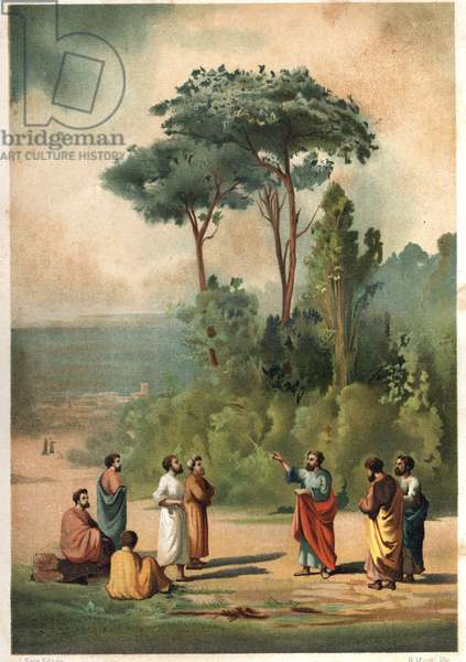 Plato and his disciples in the gardens of the Academy. after hombres y Mujeres famous. Barcelona 1877.