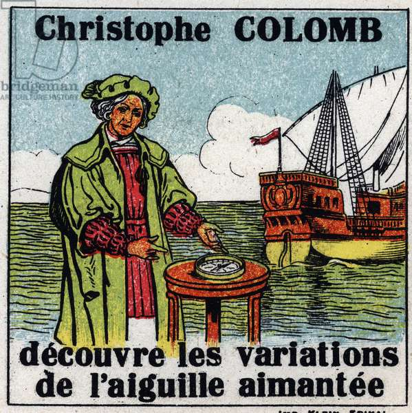 Terrestrial magnetism: Christopher Columbus (1451-1506) discovers the variations of the magnetic needle of a compasssole during his journey to America in 1492. Anonymous illustration from 1925. Private collection.