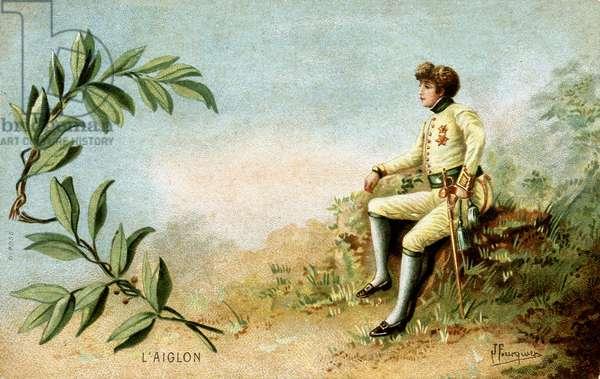 "Henriette Rosine Bernard called Sarah Bernhardt (1844-1923) in """" l'Aiglon"""", chromolithography."