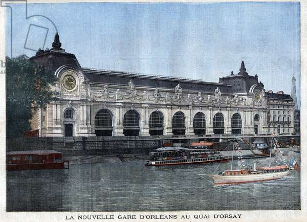 """The new station of Orleans at the Quai d'Orsay, today the Musee d'Orsay - in """""""" Le Peute Parisien"""""""", 1900."""