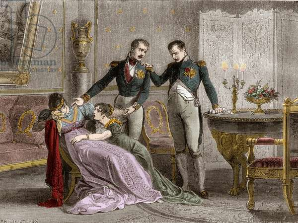 """Napoleon announces to Josephine the scheduled day for signing the divorce papers, 1809 - Long family interview in which the divorce was definitively agreed between Napoleon and Josephine on 30 November 1809 - in """"Histoire de l'empire faisant suite à l'histoire du consulate"""""""" by Adolphe Thiers -1879 - private collection"""