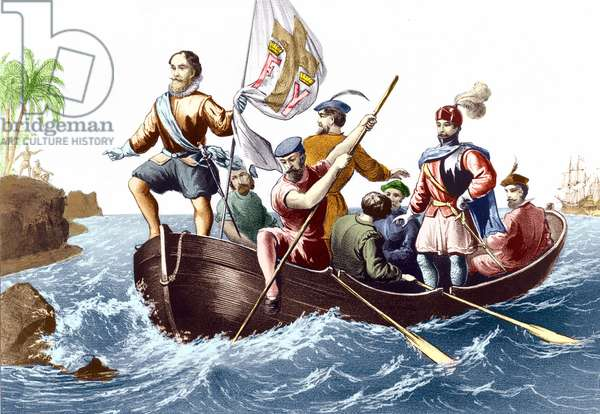 The arrival of Christopher Columbus in San Salvador on 12/10/1492. Engraving v. 1876.