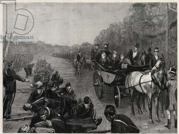 Queen Victoria - The Inspection by Her Majesty the Queen of Colonel Seey's Ambulance Corps in Windsor Park. Illustration for The Graphic, 13 May 1893.