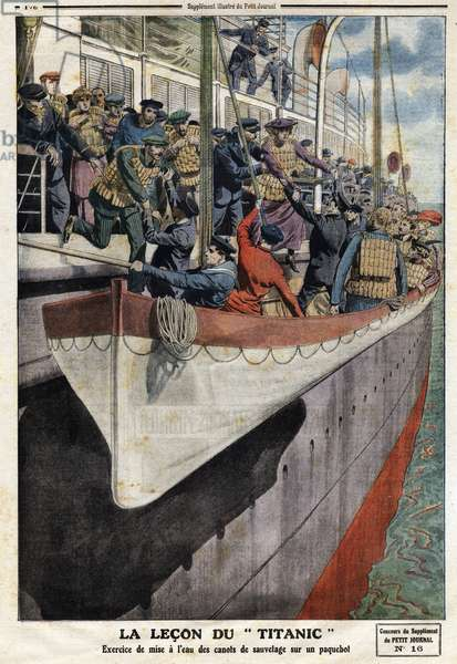 """Lifeboat exercise onboard a liner, following the sinking of the RMS Titanic, on 15 April 1912, Illustration from French newspaper Le petit Journal, June 2nd, 1912, Private Collection - """""""" La lecon du Titanic: exercise de launching des canoes de lifeboats sur un liner"""". Engraving in """""""" Le Petite Journal"""""""", on 2/06/1912. Private collection."""