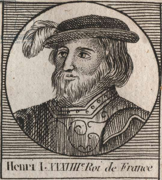 """Capetians Dynasty: Portrait of Henry I (1009-1060), King of the Francs from 1031 to 1060 - Henry I (1009-1060) King of France - engraving from """"Instruction sur l'Histoire de France"""""""" by Charles Constant Le Tellier 1821"""