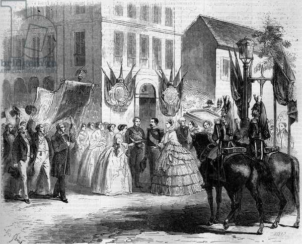 """Journey of Napoleon III (1808-1873) and Eugenie de Montijo (1826-1920) to Rouen, 1857: the imperial couple visited the linen spinning called """"The Lightning"""""""". Rouen, Seine Maritime (76). From a drawing by Mr. Massot. Engraving in """""""" Le Monde Illustré"""""""" n°20 of 29 August 1857."""